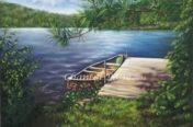 peinture huile bord de l'eau Chantal Bossé